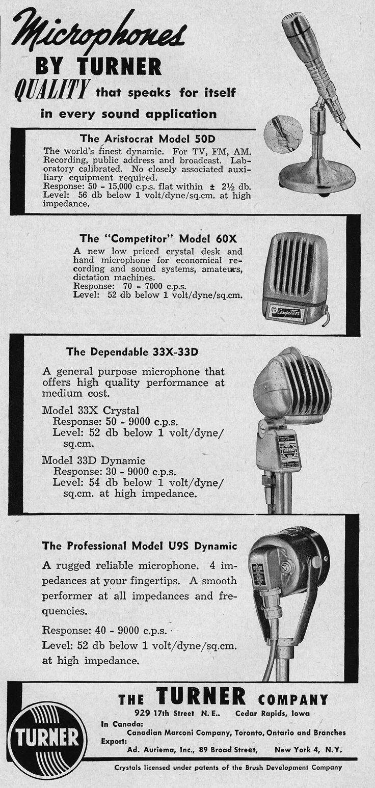 1951 ad for Turner microphones in   Reel2ReelTexas.com's vintage recording collection