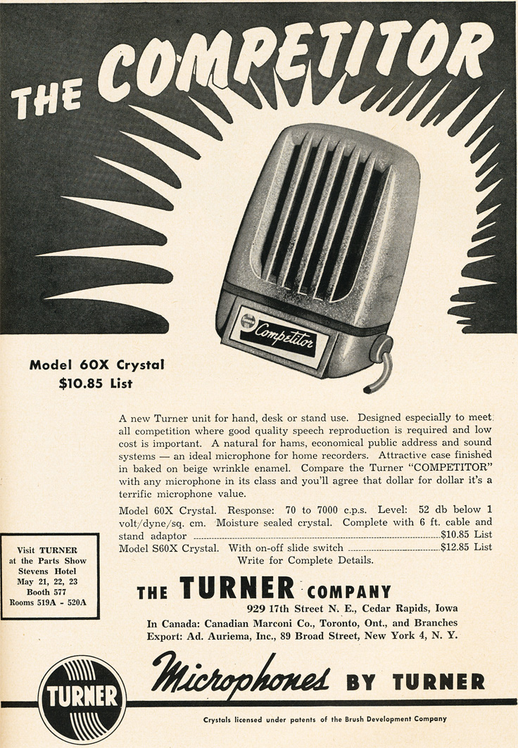 1951 ad for the Turner 60X microphone in   Reel2ReelTexas.com's vintage recording collection