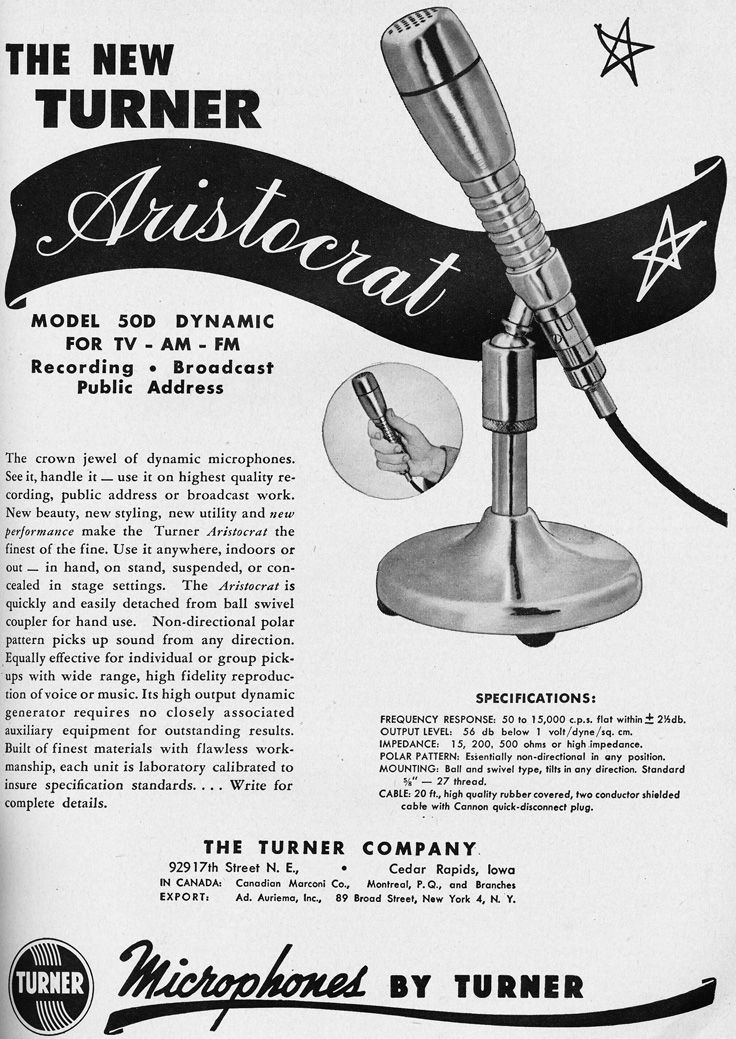 1951 ad for the Turner Aristocrat microphone in   Reel2ReelTexas.com's vintage recording collection