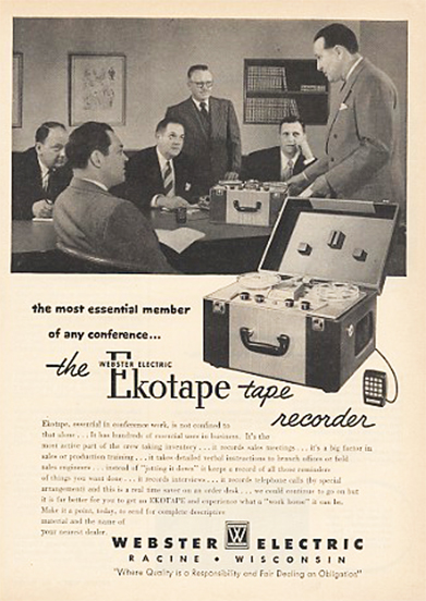 1951 ad for the Webster Ekotape reel to reel tape recorder in Reel2ReelTexas.com's vintage recording collection