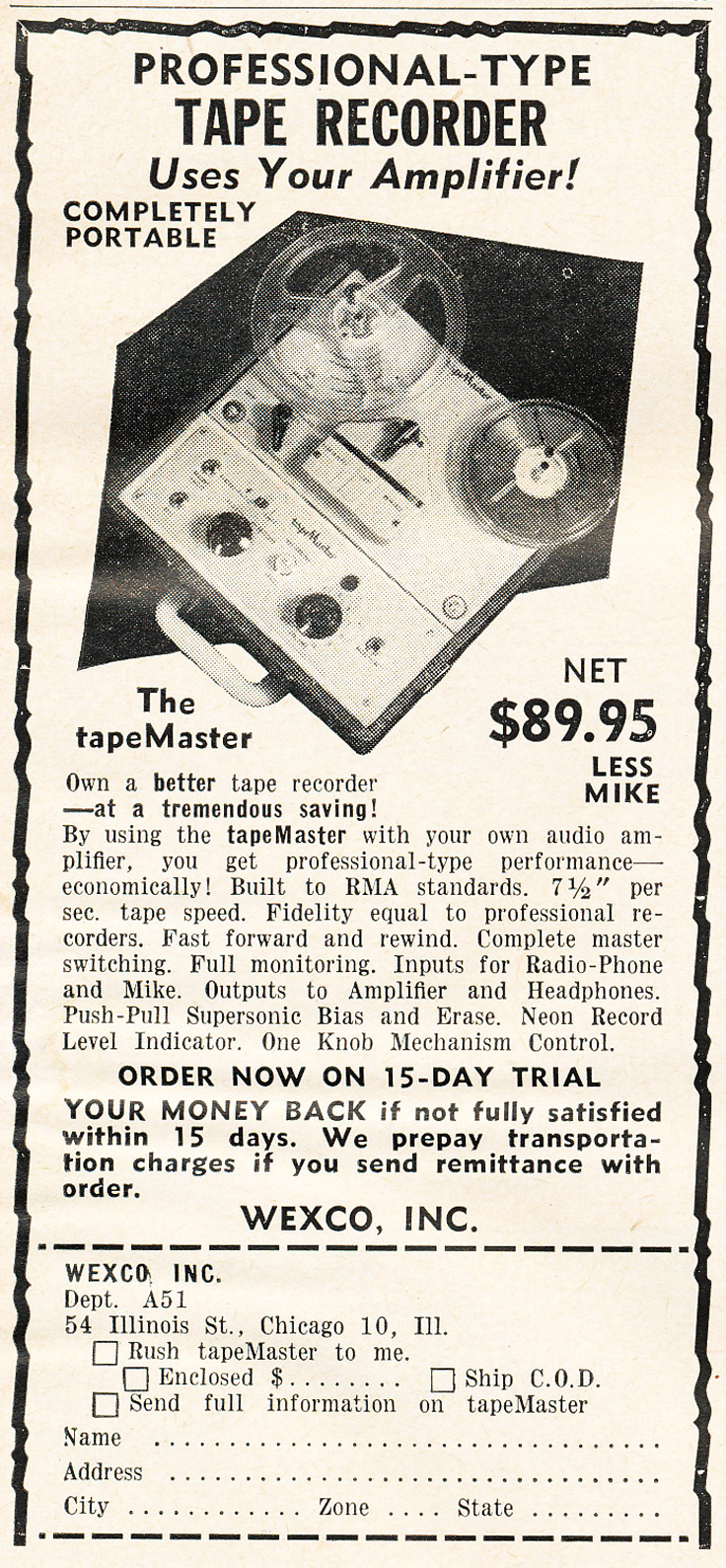 1951 ad for the Wexco reel to reel tape recorder in   Reel2ReelTexas.com's vintage recording collection