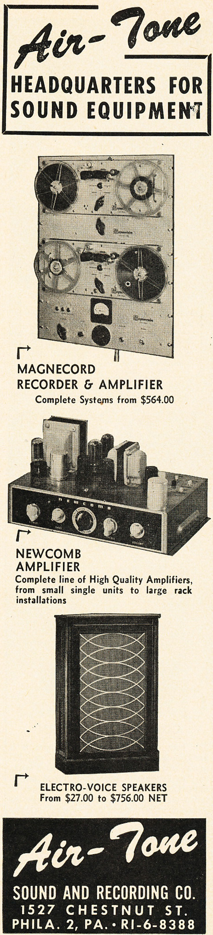 1952 Airtone ad featuring Magnecord reel tape recorders in   Reel2ReelTexas.com's vintage recording collection.