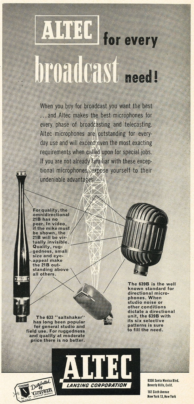 1952 ad for Altec 21B, 633 and 639B  microphones in Reel2ReelTexas.com's vintage recording collection