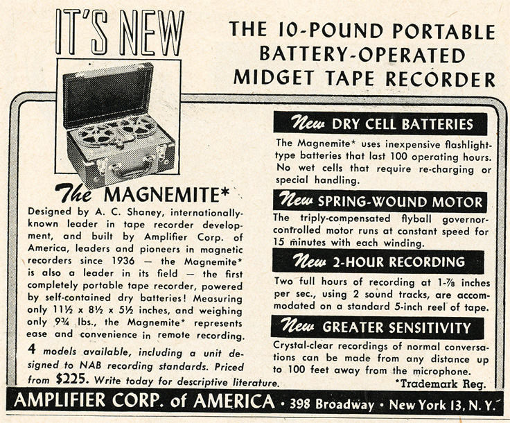 1952 ad for the Amplifier Corporation of America's Magnemite reel to reel tape recorder in Phantom Productions'vintage recording collection