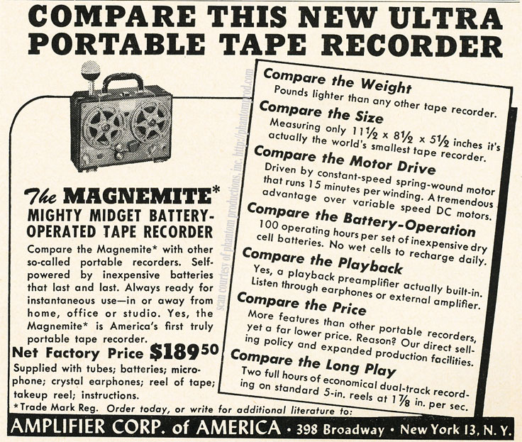 1952 ad for the Amplifier Corporation of America's Magnemite reel to reel tape recorder in Reel2ReelTexas.com's vintage recording collection