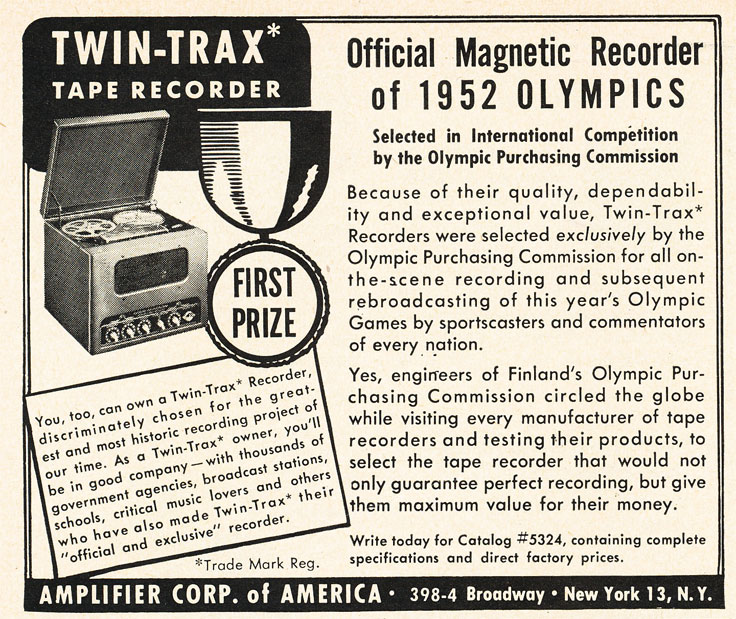 1952 ad for the Amplifier Corporation of America's Twin Tracks reel to reel tape recorder in Reel2ReelTexas.com's vintage recording collection