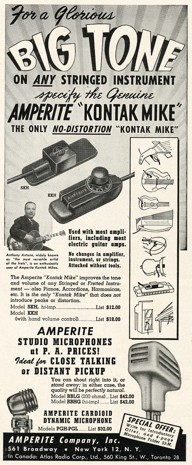 1952 ad for Amperite microphones in Phantom Productions'vintage recording collection
