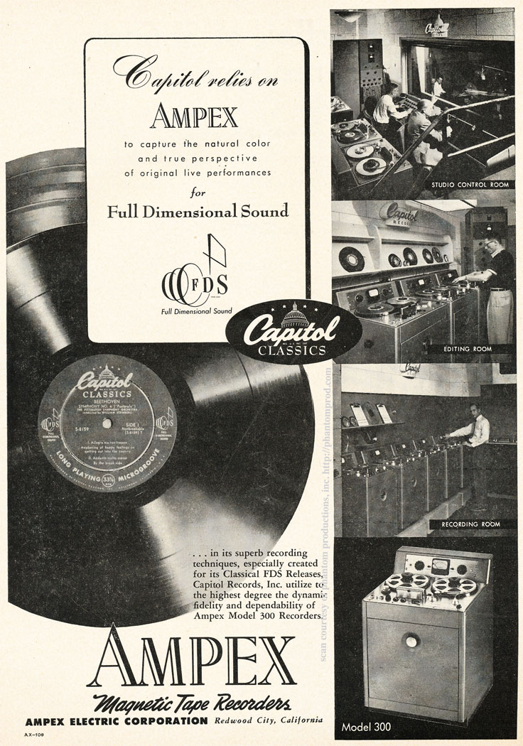 1952 ad for the Ampex 300 professional reel to reel tape recorder in use at Capitol Records  in Reel2ReelTexas.com's vintage recording collection