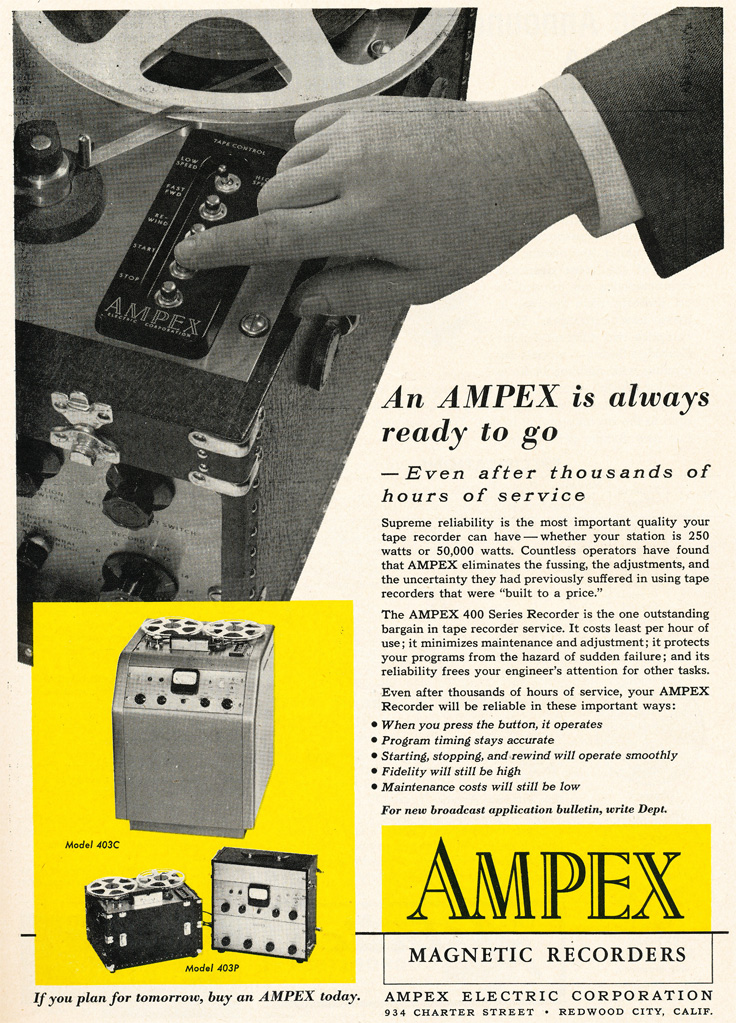 1952 ad for the Ampex 400 professional reel to reel tape recorder  in Reel2ReelTexas.com's vintage recording collection