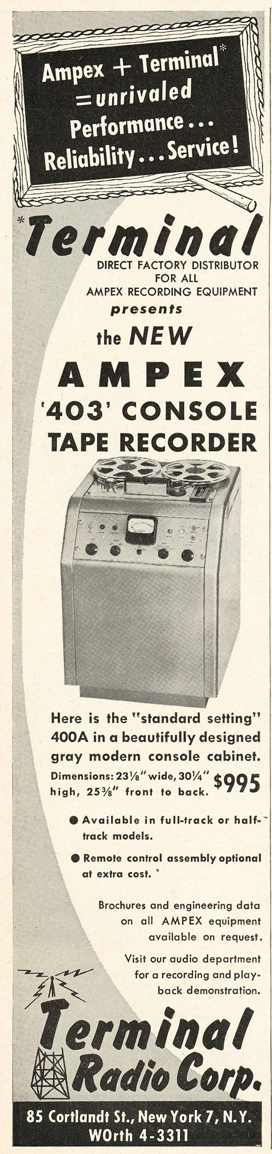 1952 ad for the Ampex 403 console professional reel to reel tape recorder  in Reel2ReelTexas.com's vintage recording collection