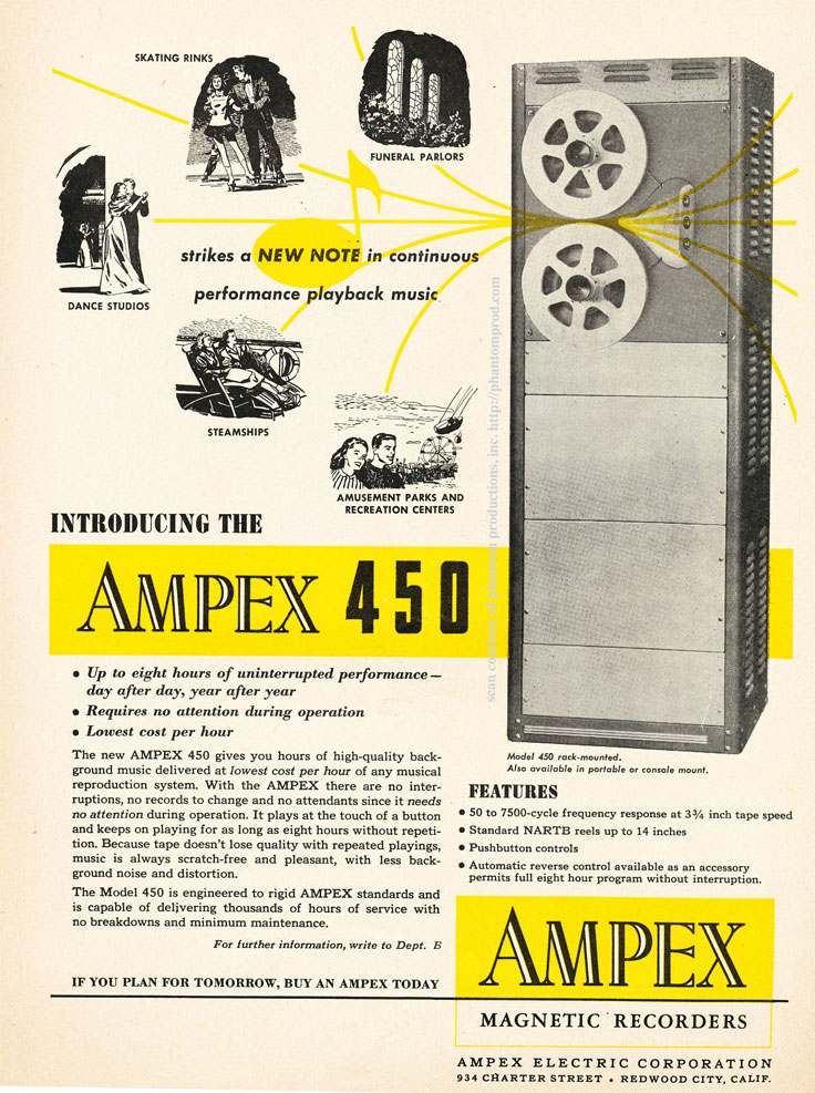 1952 ad for the Ampex 450 professional reel to reel tape recorder  in Reel2ReelTexas.com's vintage recording collection