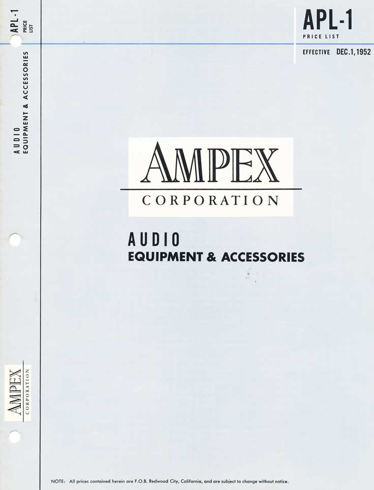 1952 Ampex Equipment and Accesories price list in Reel2ReelTexas.com's vintage recording collection
