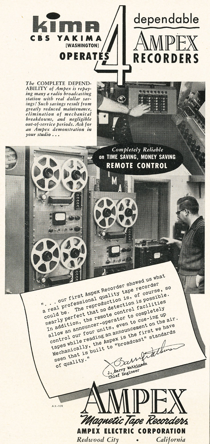 1952 ad for the Ampex professional reel to reel tape recorders in use at KIMA radio   in Reel2ReelTexas.com's vintage recording collection