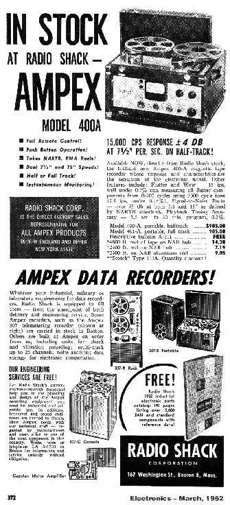 1952 Radio Shack ad for Ampex reel to reel tape recorders in Reel2ReelTexas' vintage recording collection