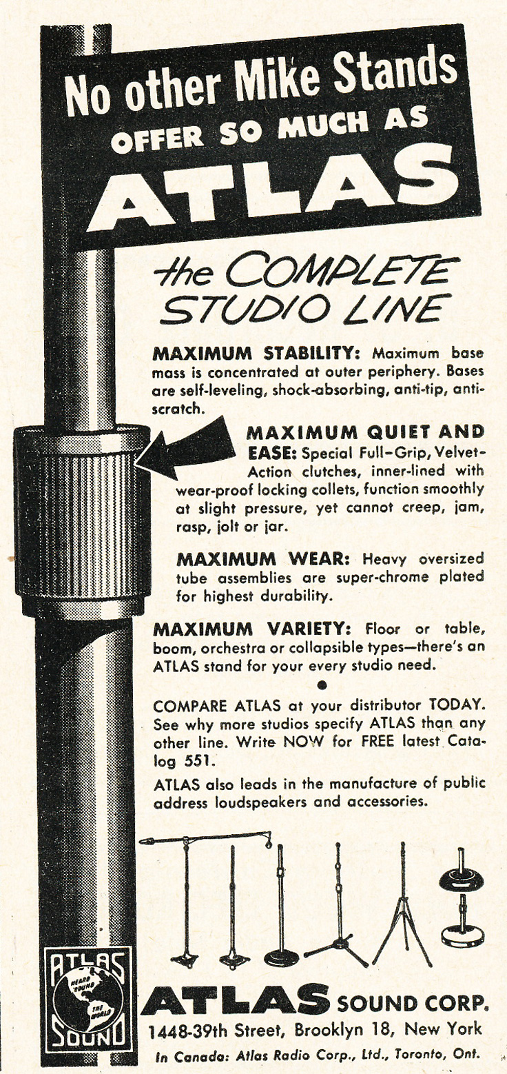 1952 ad for Atlas microphone stands in Phantom Productions'vintage recording collection