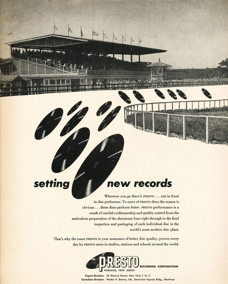 1952 ad for Audio Devices' AudioTape reel to reel recording tape  in Reel2ReelTexas.com's vintage recording collection