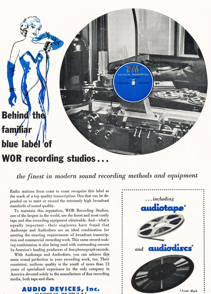 1952 ad for Audio Devices' AudioTape for reel to reel recording tape used by radio station WOR  in Reel2ReelTexas.com's vintage recording collection