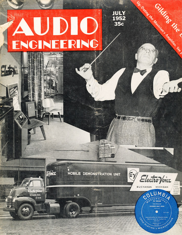 July 1952 cover of the Audio Engineering magazine in Reel2ReelTexas.com's vintage recording collection