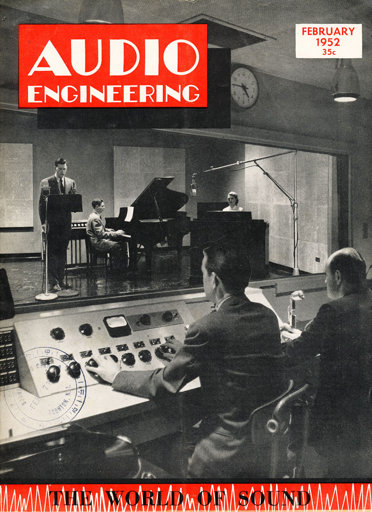 February 1952 cover of the Audio Engineering magazine in Reel2ReelTexas.com's vintage recording collection