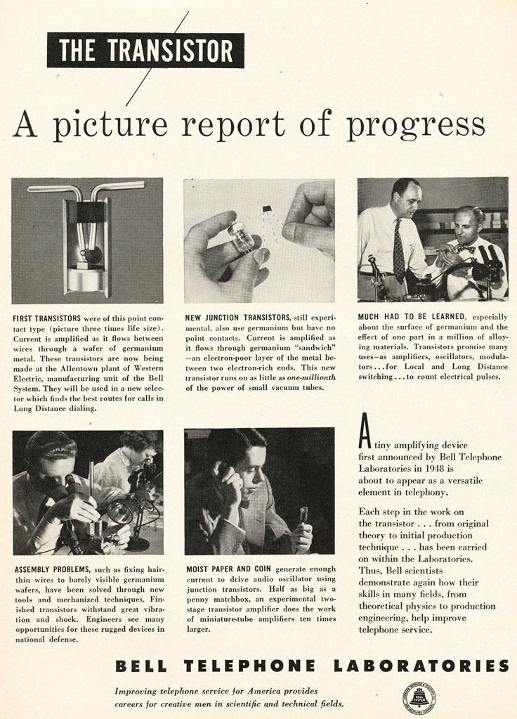 1952 ad for Bell Labs work on the transistor  in Reel2ReelTexas.com's vintage recording collection