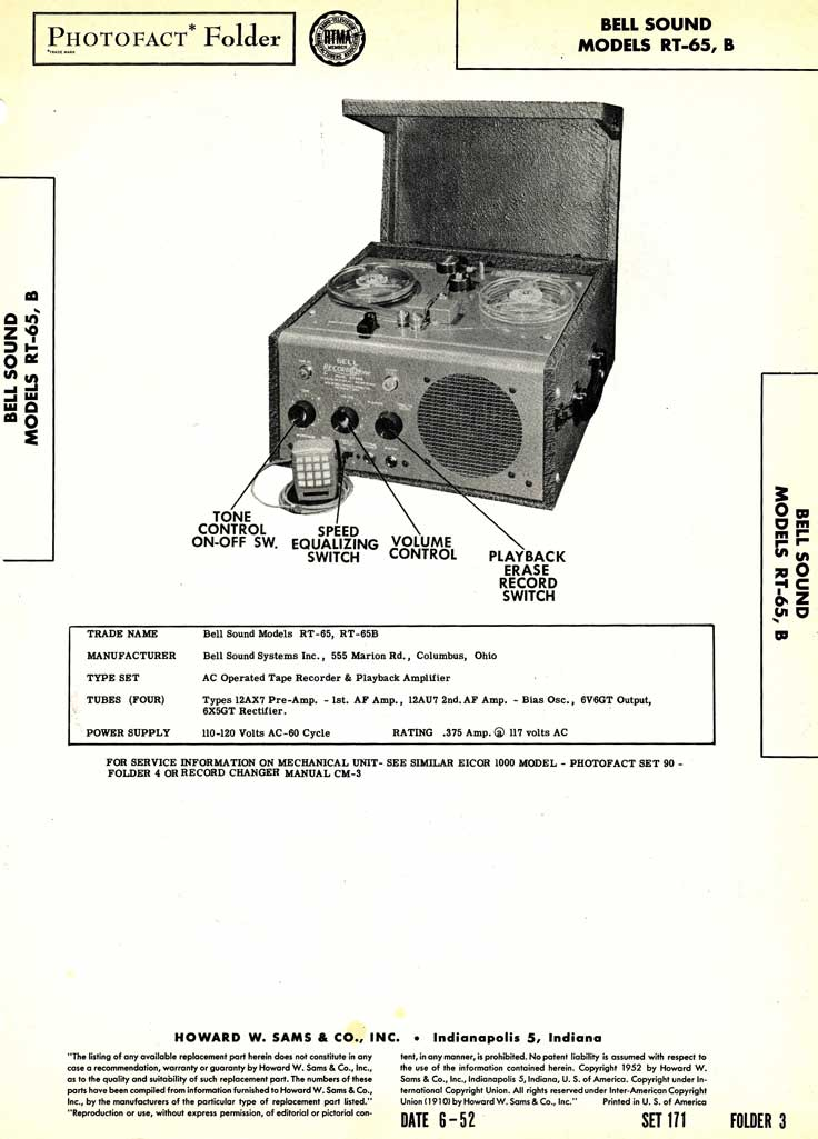 1952 Photofact for the Bell RT-65B tape recorder in Reel2ReelTexas.com's vintage recording collection