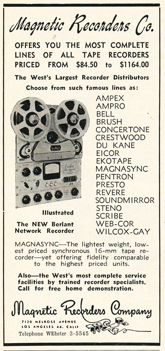 1952 Magnetic Recorders Company ad for the Berlant Network professional reel to reel tape recorder in Reel2ReelTexas.com's vintage recording collection