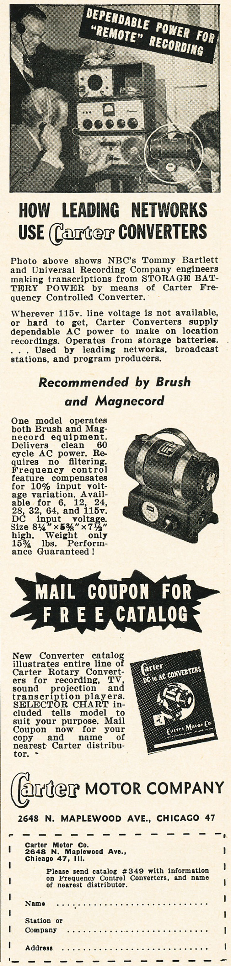 1952 Carter Motor Company ad showing a Magnecord reel tape recorder in   Reel2ReelTexas.com's vintage recording collection