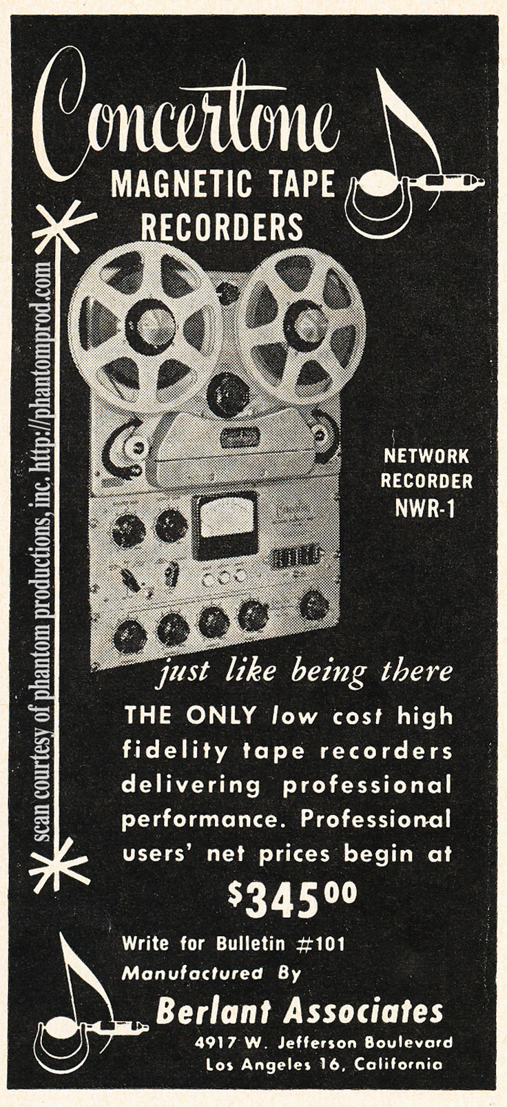 1952 ad for the Berlant Concertone NWR-1 professional reel to reel tape recorder in Reel2ReelTexas.com's vintage recording collection