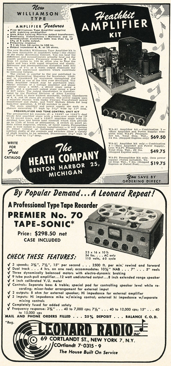 1952 Leonard radio ad for the Tape-Sonic Premier #70 professional reel to reel tape recorder  in Phantom Productions'vintage recording collection