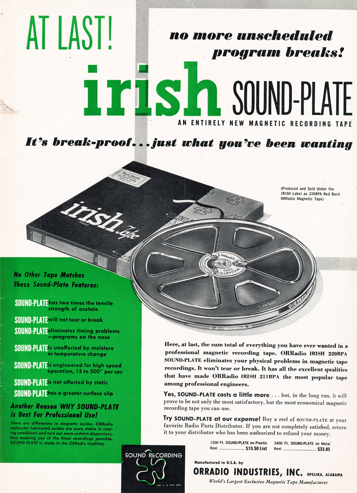 1952 ad for Irish reel to reel recording tape  in Phantom Productions'vintage recording collection