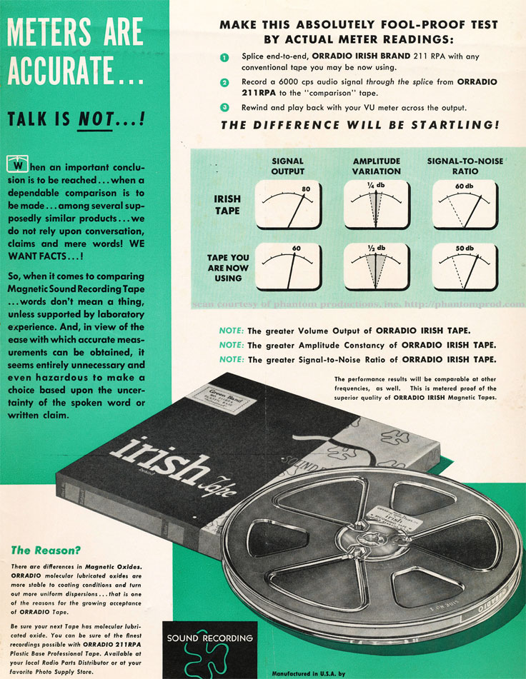 1952 ad for Irish reel recording tape in Reel2ReelTexas.com's vintage recording collection