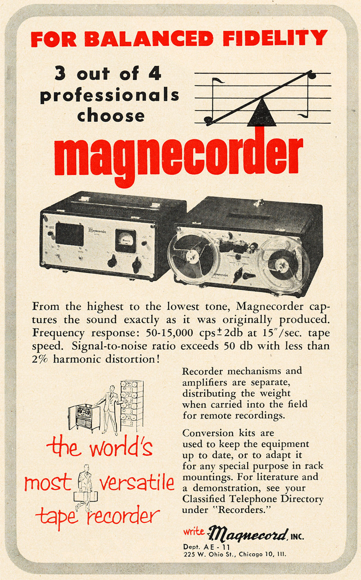 1952 ad for the Magnecord professional reel to reel tape recorder  in Reel2ReelTexas.com's vintage recording collection
