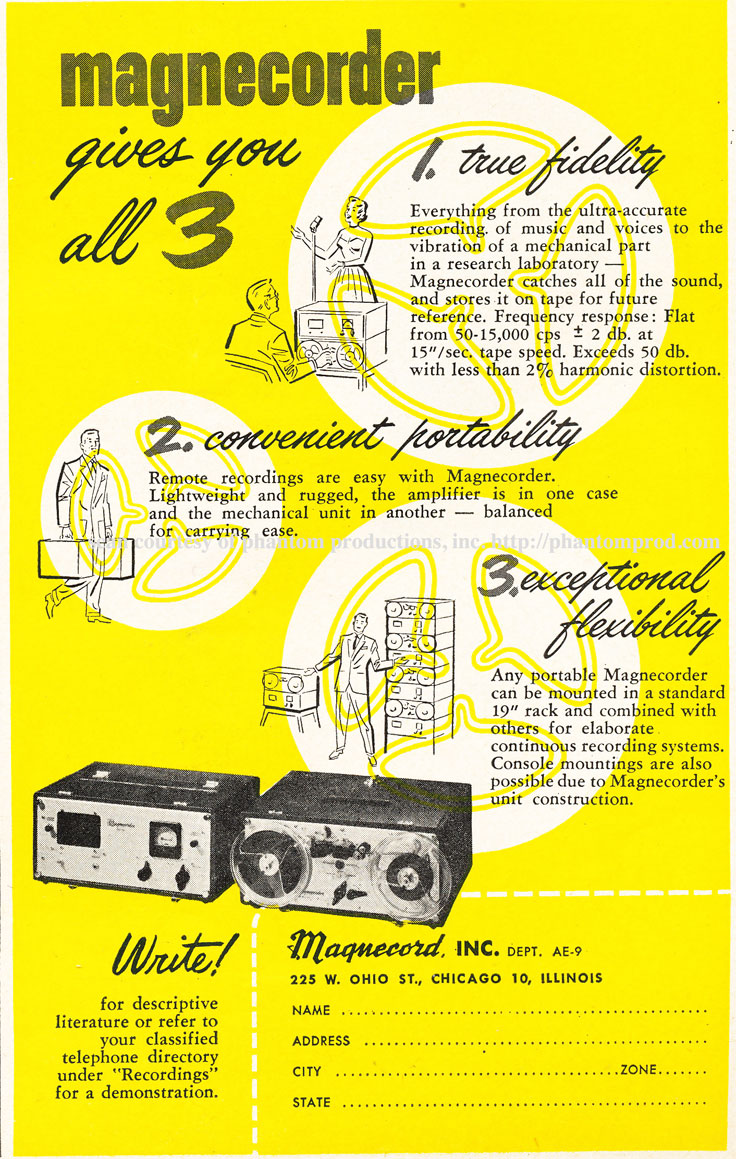 1952 ad for the Magnecord  reel to reel tape recorder in Reel2ReelTexas.com's vintage recording collection
