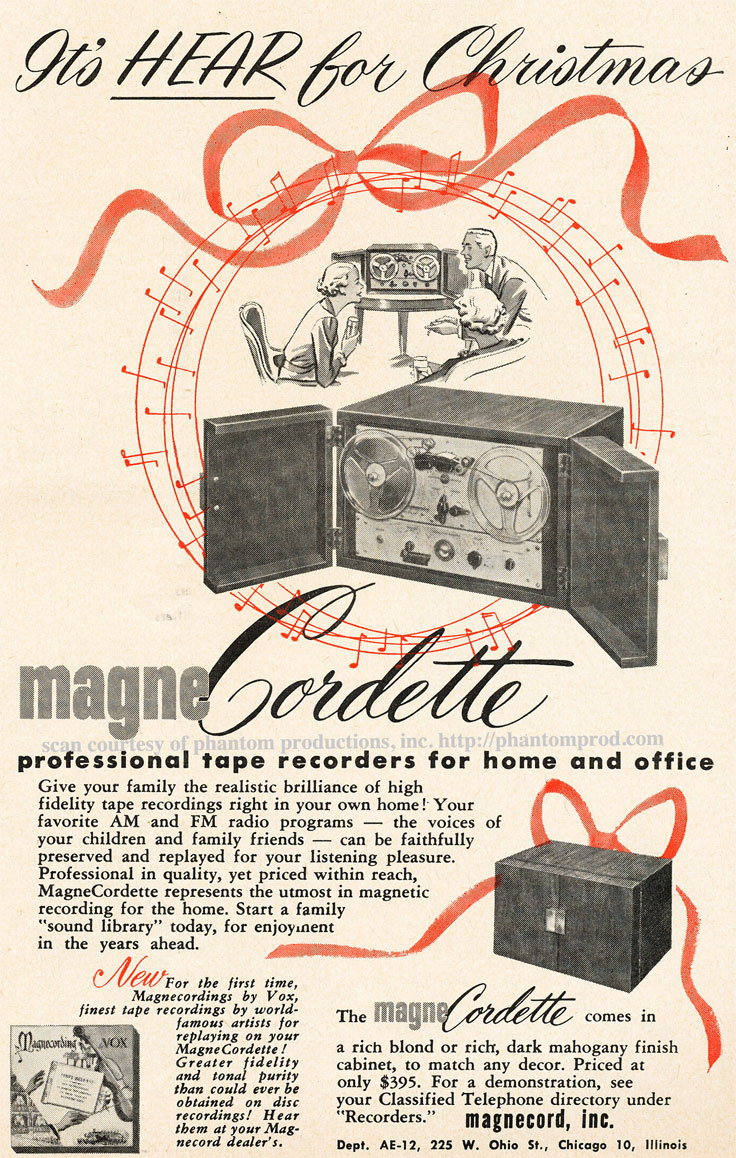 1952 ad for the Magnecord Magnecordette reel to reel tape recorder  in Reel2ReelTexas.com's vintage recording collection