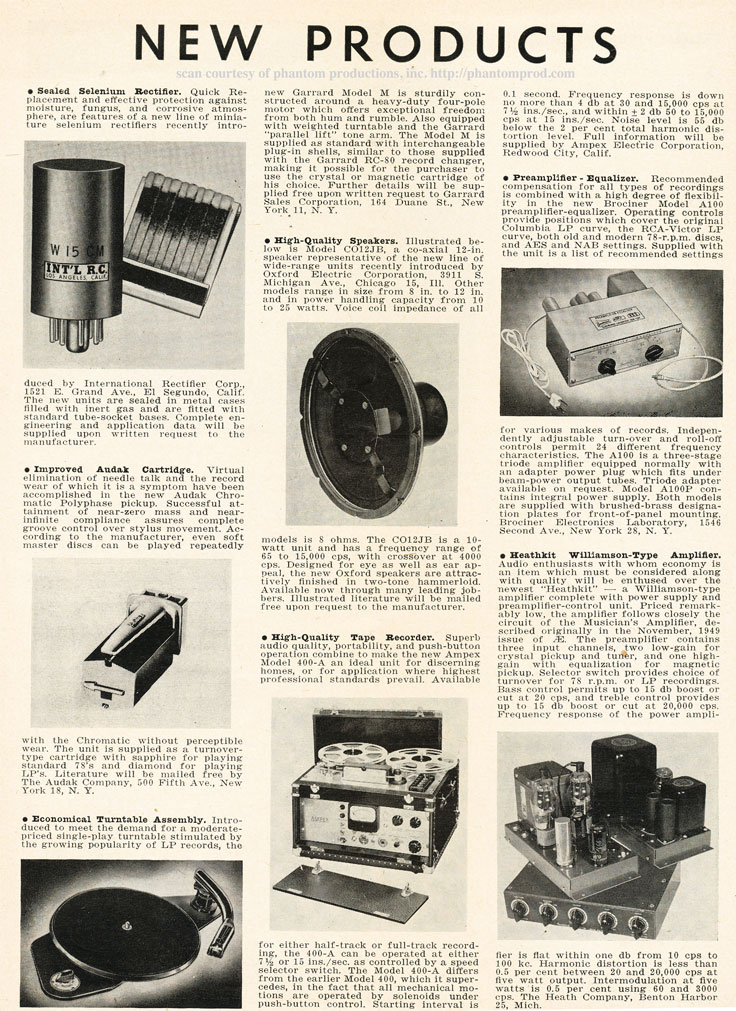 1952 listing of New Products available in Reel2ReelTexas.com's vintage recording collection