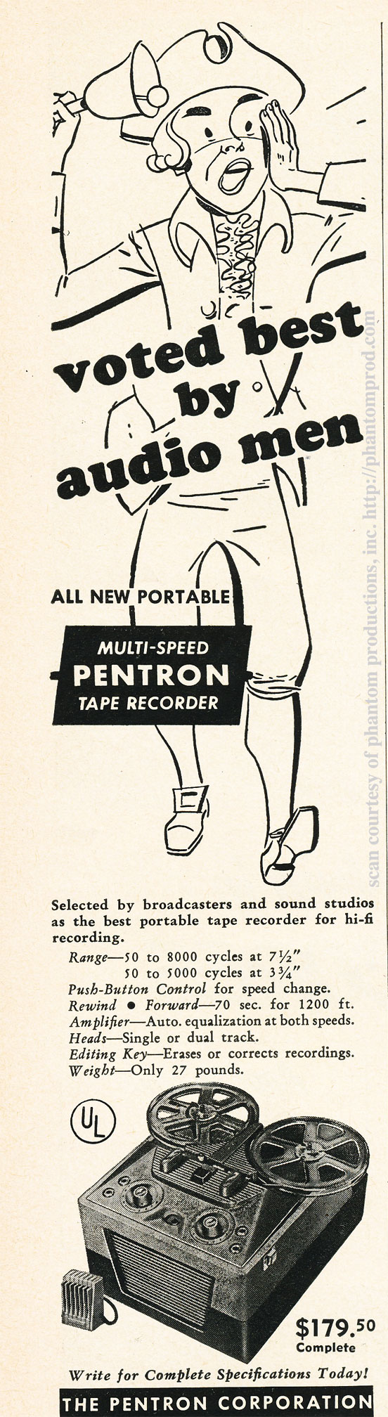 1952 ad for Pentron reel to reel tape recorders in Reel2ReelTexas.com's vintage recording collection