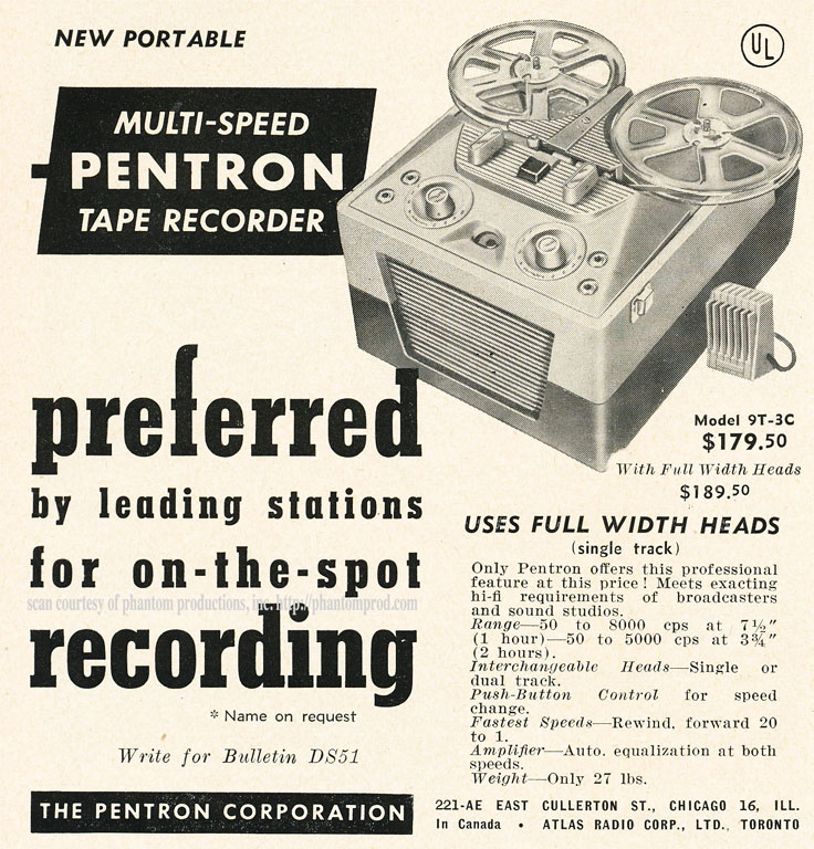 1952 ad for the Pentron 9T3C reel to reel tape recorders in Reel2ReelTexas.com's vintage recording collection