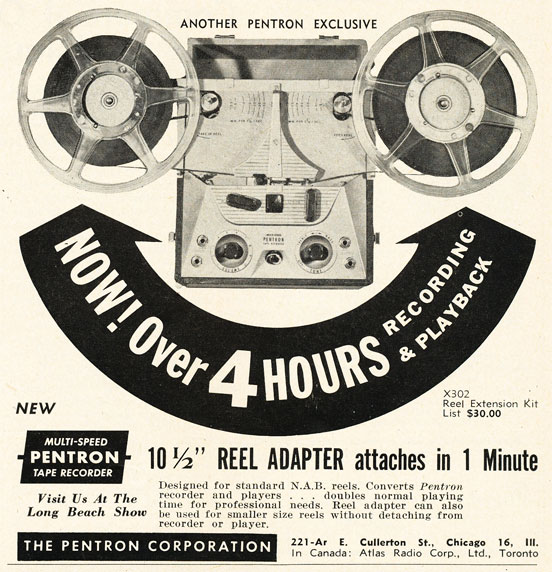 1952 ad for the Pentron extended large reel adpter for  reel to reel tape recorders in Reel2ReelTexas.com's vintage recording collection