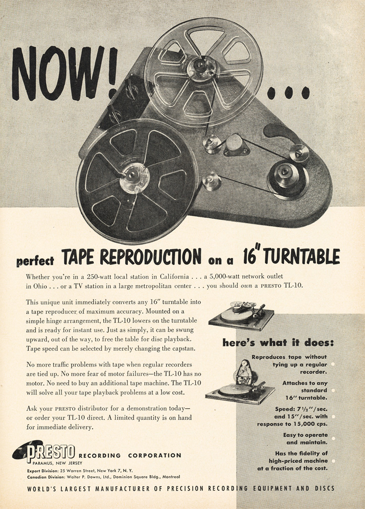 1952 ad for the Presto TL-10 turntable to reel to reel recorder adapter in Reel2ReelTexas.com's vintage recording collection