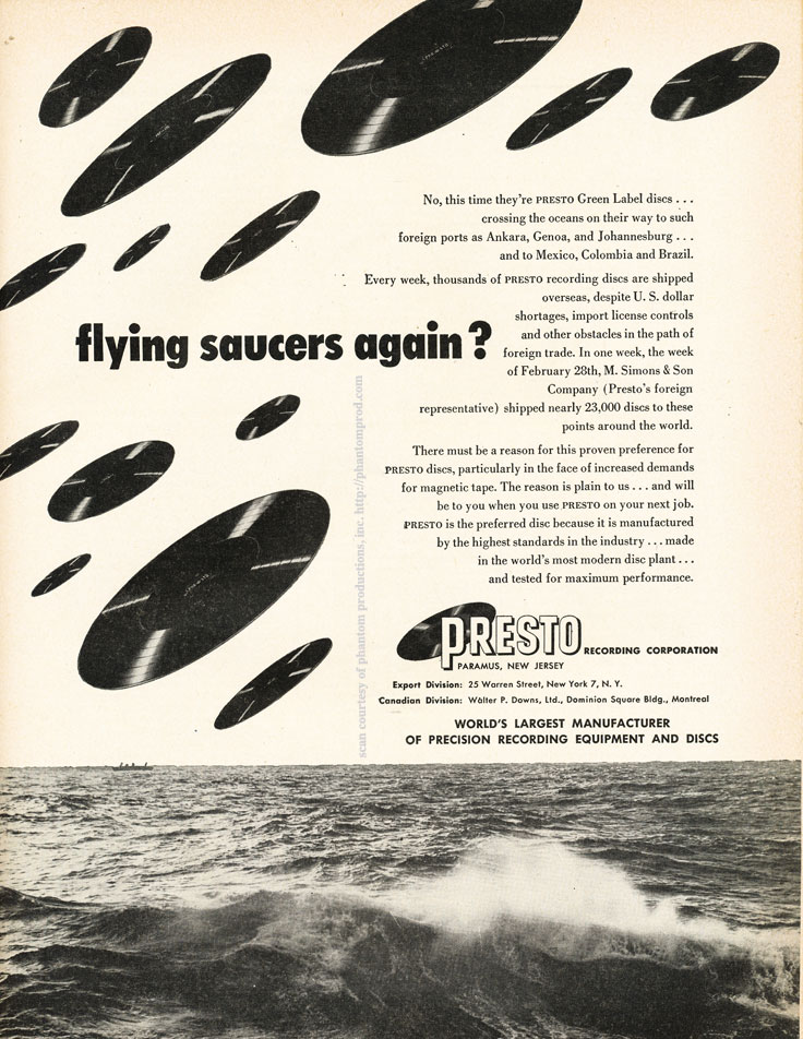 1952 ad for Presto discs in Reel2ReelTexas.com's vintage recording collection