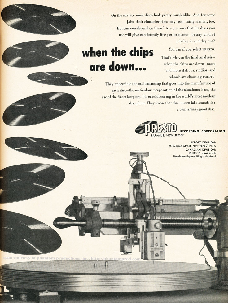 1952 ad for the Presto record cutter in Reel2ReelTexas.com's vintage recording collection