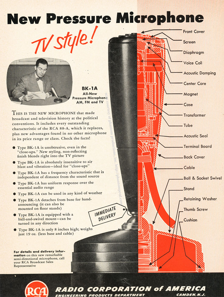 1952 RCA BK-1A microphone ad in Reel2ReelTexas.com's vintage recording collection