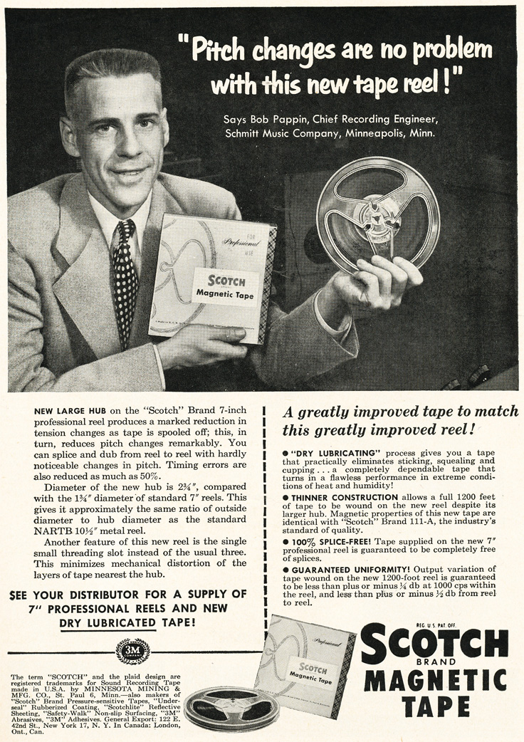 1952 ad for Scotch 3M  reel to reel recording tape  in Phantom Productions'vintage recording collection