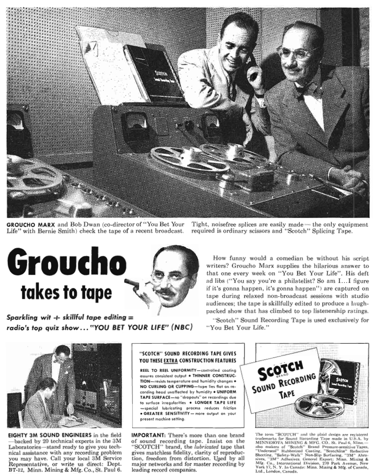 1952 ad for Scotch 3M  reel to reel recording tape featuring grocho Marx in Phantom Productions'vintage recording collection