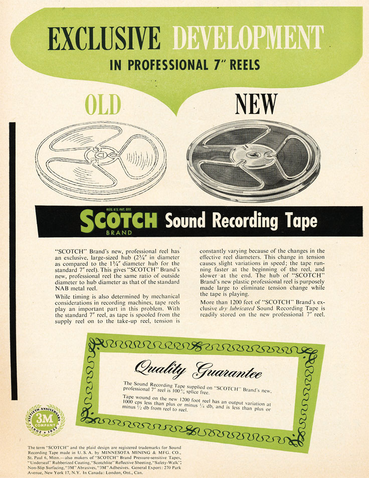 1952 ad for Scotch 3M pro reels for reel to reel recording tape  in Phantom Productions'vintage recording collection