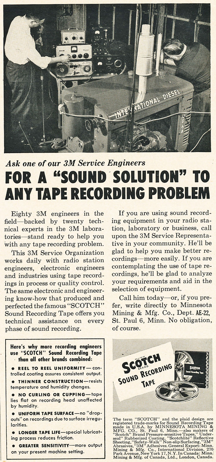 1952 Scotch recording tape ad that includes a Magnecord reel to reel tape recorder in Reel2ReelTexas.com's vintage recording collection