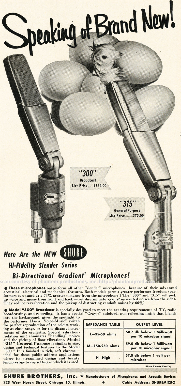 1952 ad for the Shure 300 and 315 microphones in Reel2ReelTexas.com's vintage recording collection