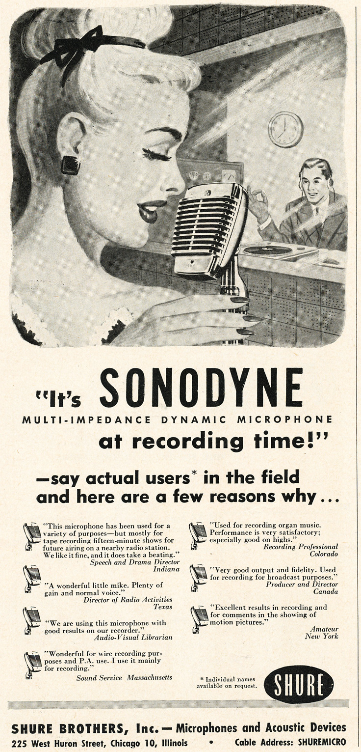 1952 ad for the Shure SonoDyne microphone in Reel2ReelTexas.com's vintage recording collection