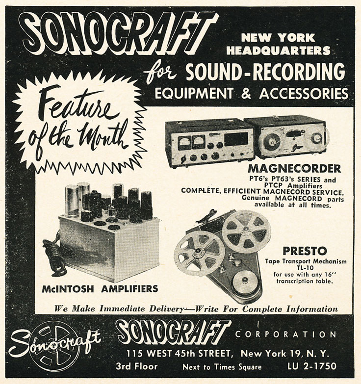 1952 ad for Sonocraft in Reel2ReelTexas.com's vintage recording collection