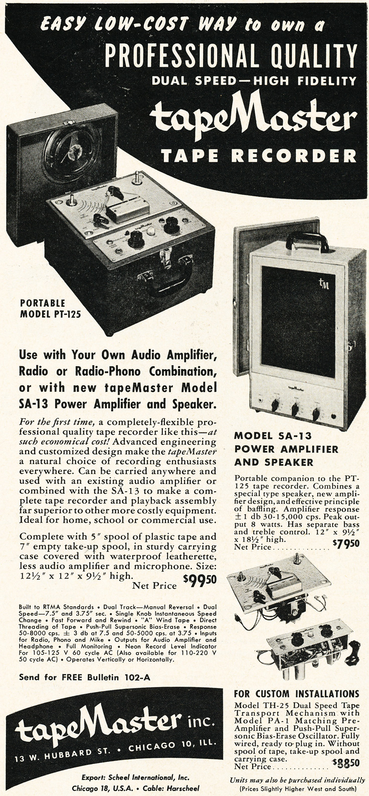 1952 ad for the TapeMaster reel to reel tape recorder  in Phantom Productions'vintage recording collection